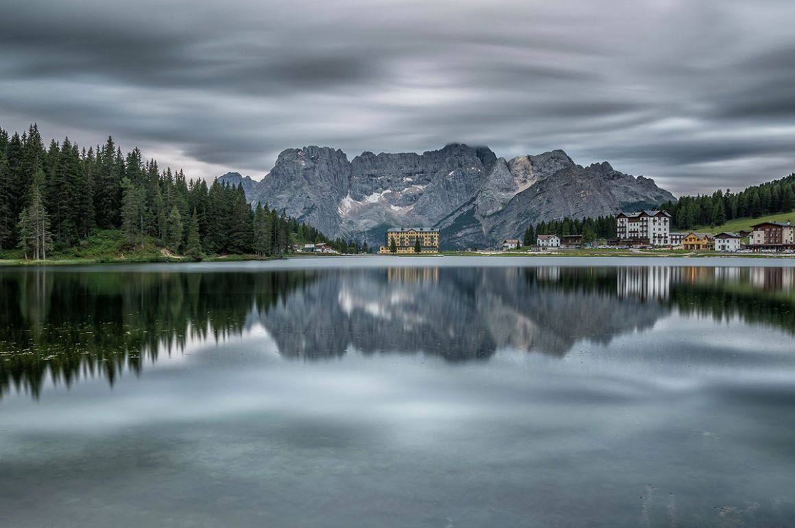 Cloudy morning at Lake Misurina in Dolomites, Italy. I used long exposure