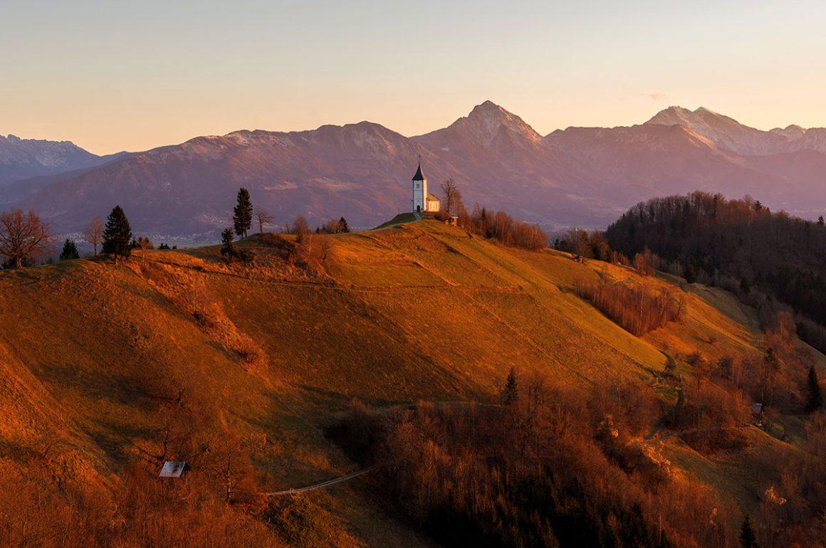Jamnik church on an autumn morning just after sunrise